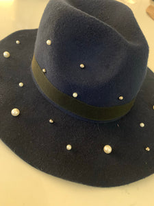 Pearl Fedora Hat - Navy