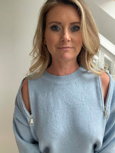 Load image into Gallery viewer, Zip Neck Jumper - Baby Blue