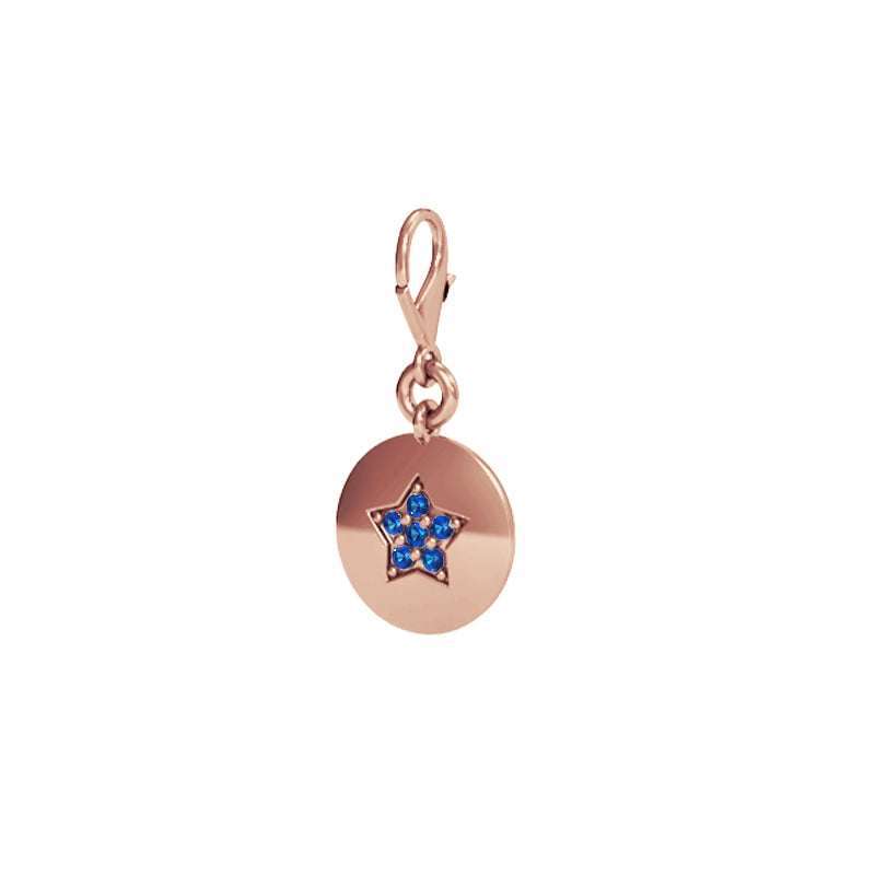 Rose Gold Star Talisman Charm with Blue Sapphires