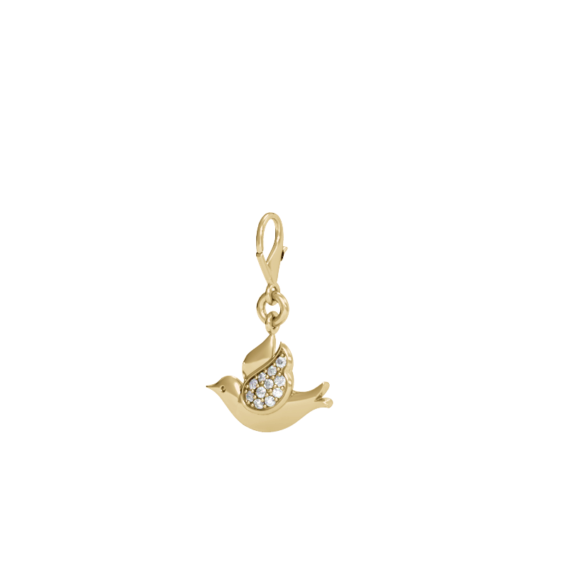Yellow Gold Dove Diamond Charm
