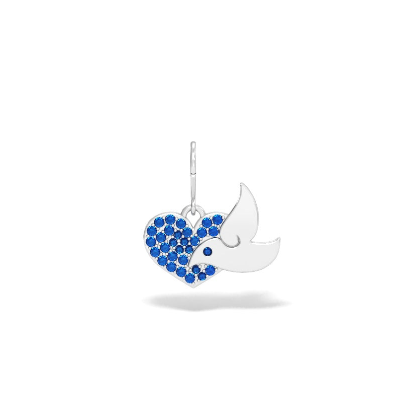 Dove with Heart Charm with Blue Sapphires