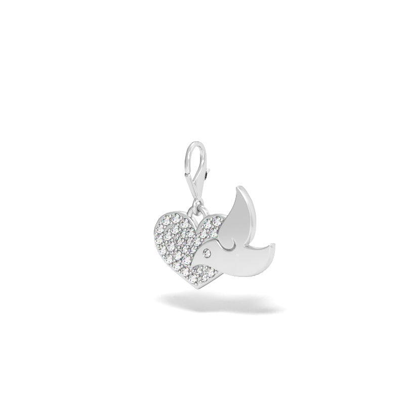 Dove with Heart Charm with Diamond