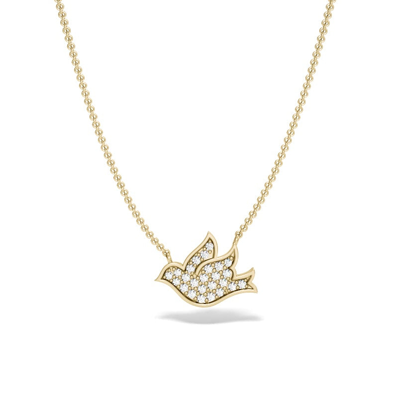 Yellow Gold Pave Dove Necklace