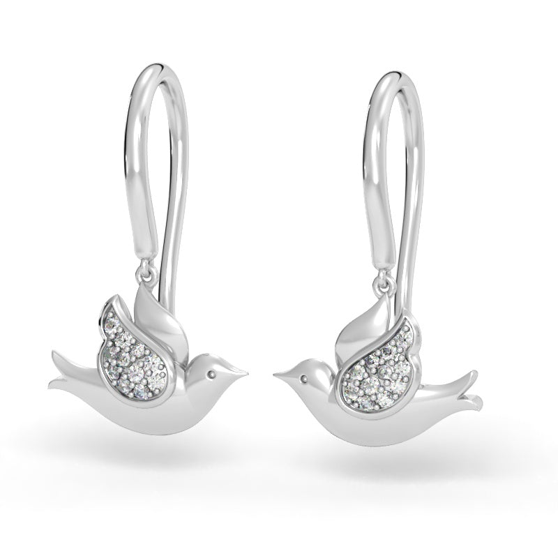 Doves In Flight Earrings With Diamonds