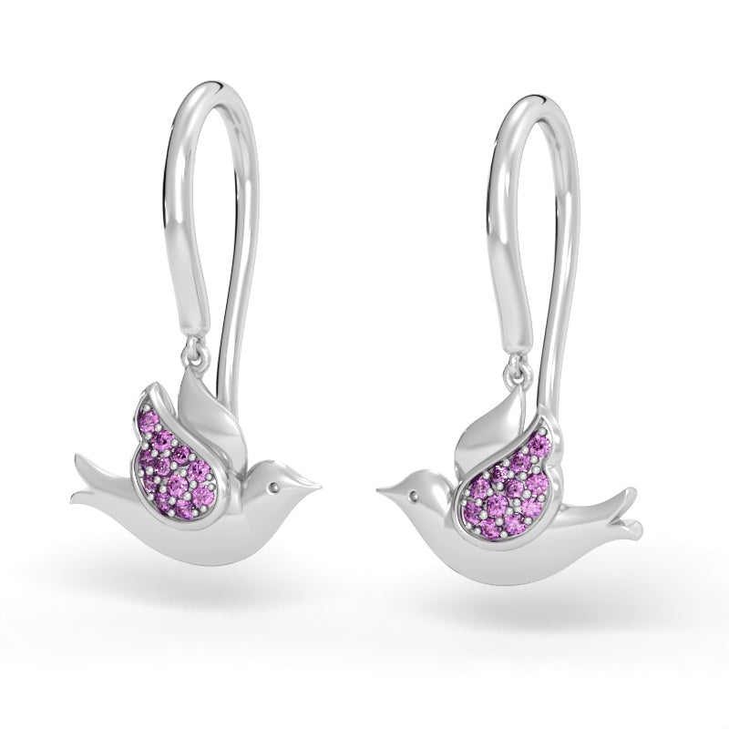 Doves In Flight Earrings With Pink Sapphires