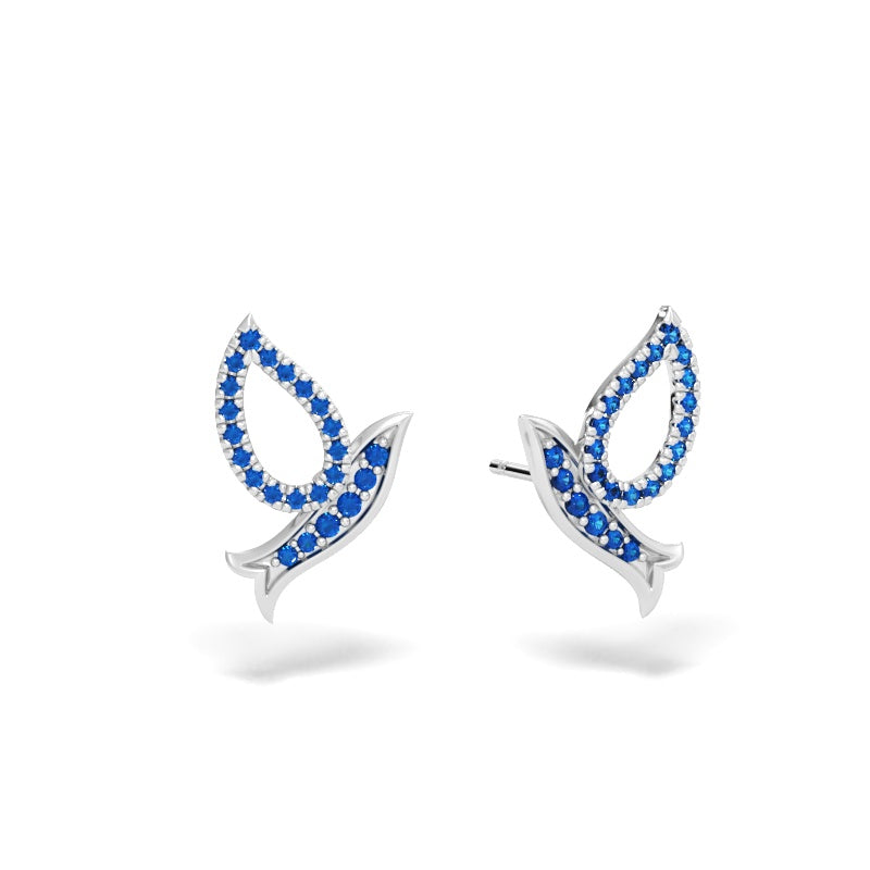 Flying Dove Stud Earrings with Blue Sapphires