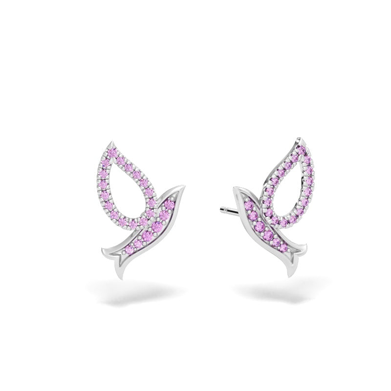 Flying Dove Stud Earrings with Pink Sapphires