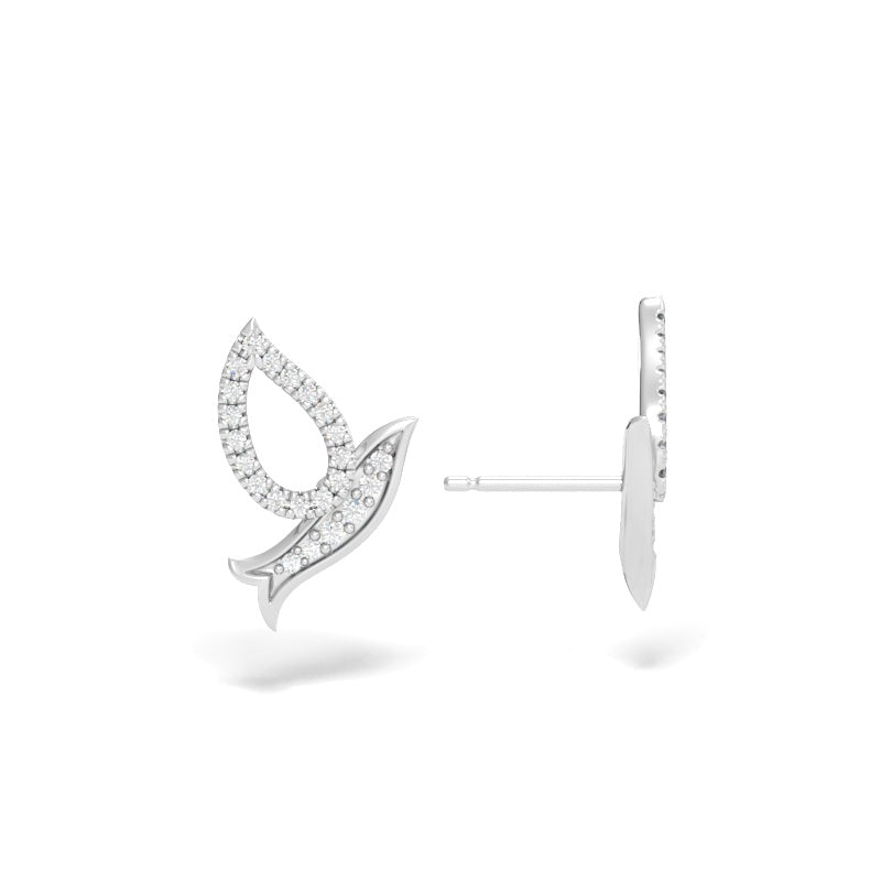 Flying Dove Stud Earrings with Diamonds