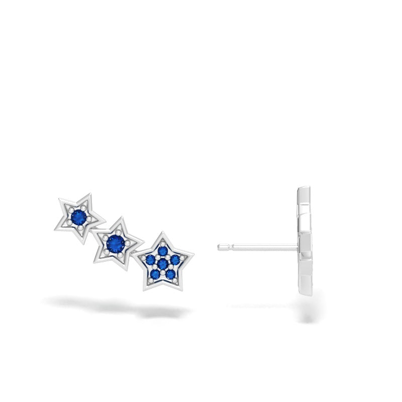 Star Ear Climbers with Blue Sapphires