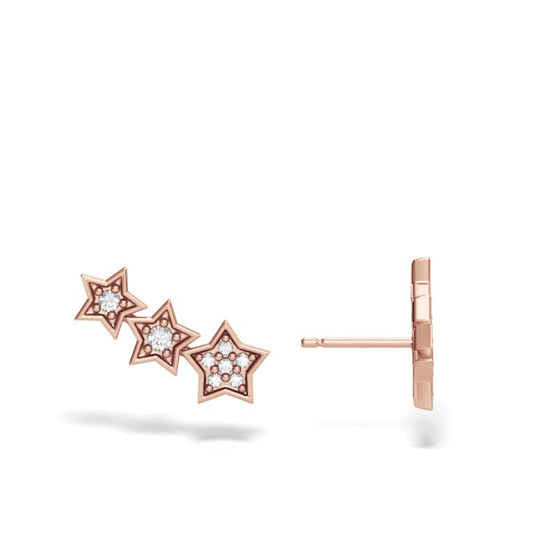 Rose Gold Star Ear Climbers with Diamonds