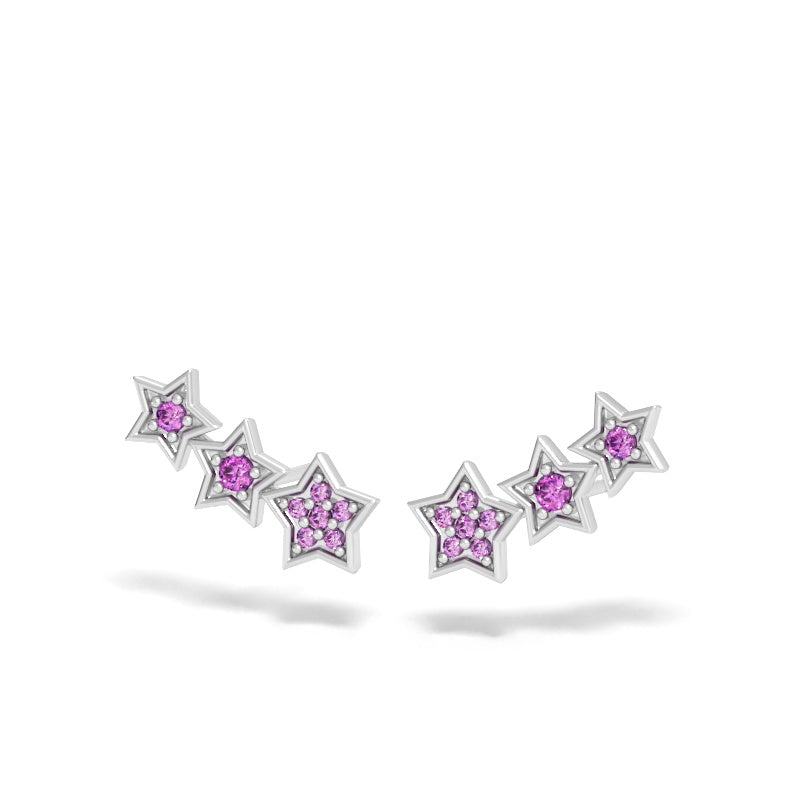 Star Ear Climbers with Pink Sapphires
