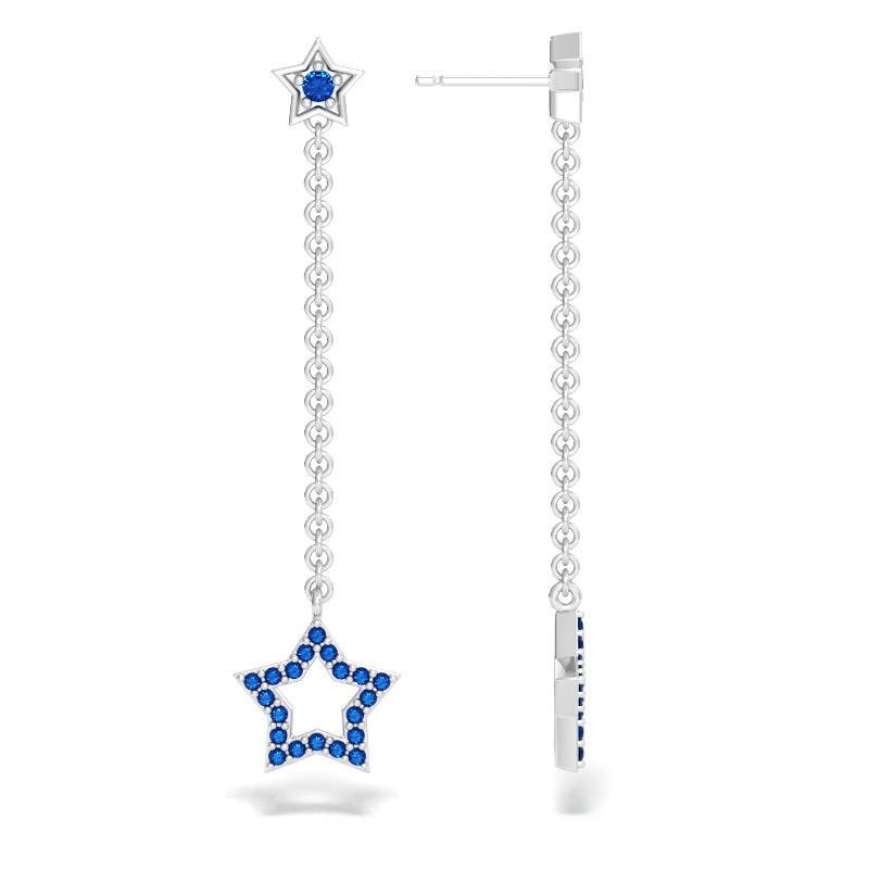 Star Drop Earrings with Blue Sapphires
