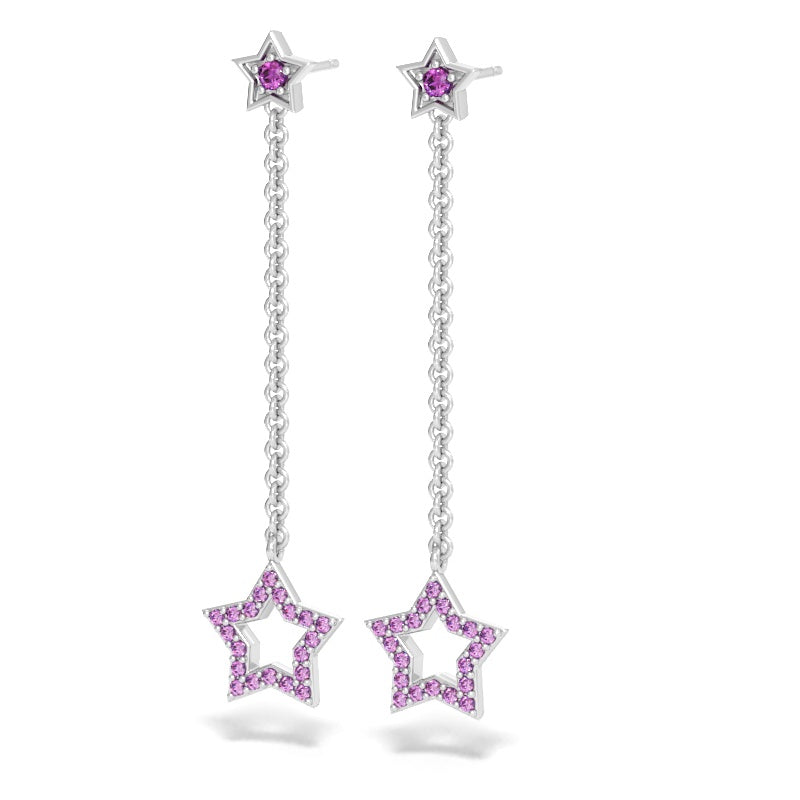 Star Drop Earrings with Pink Sapphires