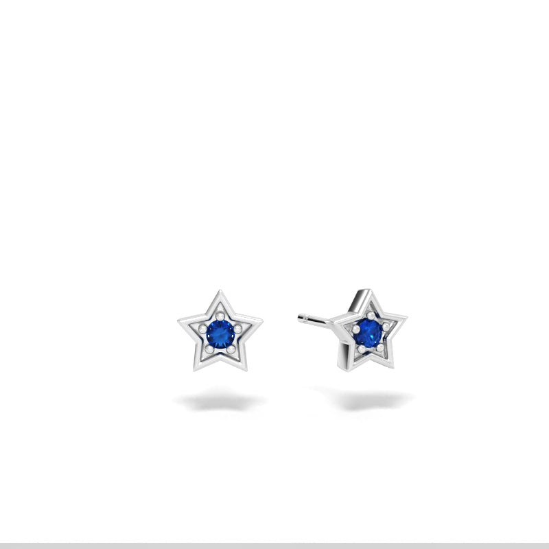 Star Stud Earrings with Blue Sapphires