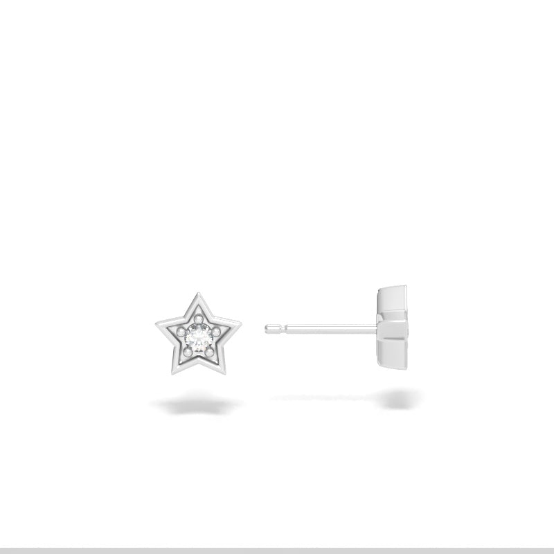 Star Stud Earrings with Diamonds