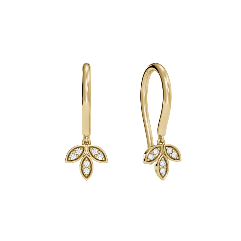 Yellow Gold Laurel Leaf Earrings with Diamonds