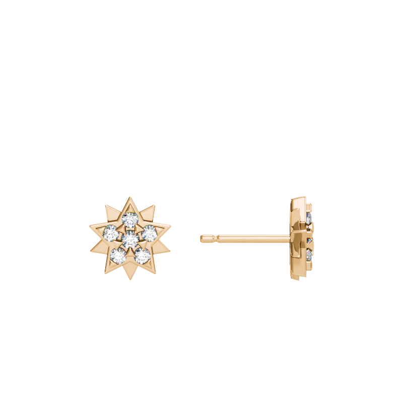 Yellow Gold Star Stud Earrings with Diamonds
