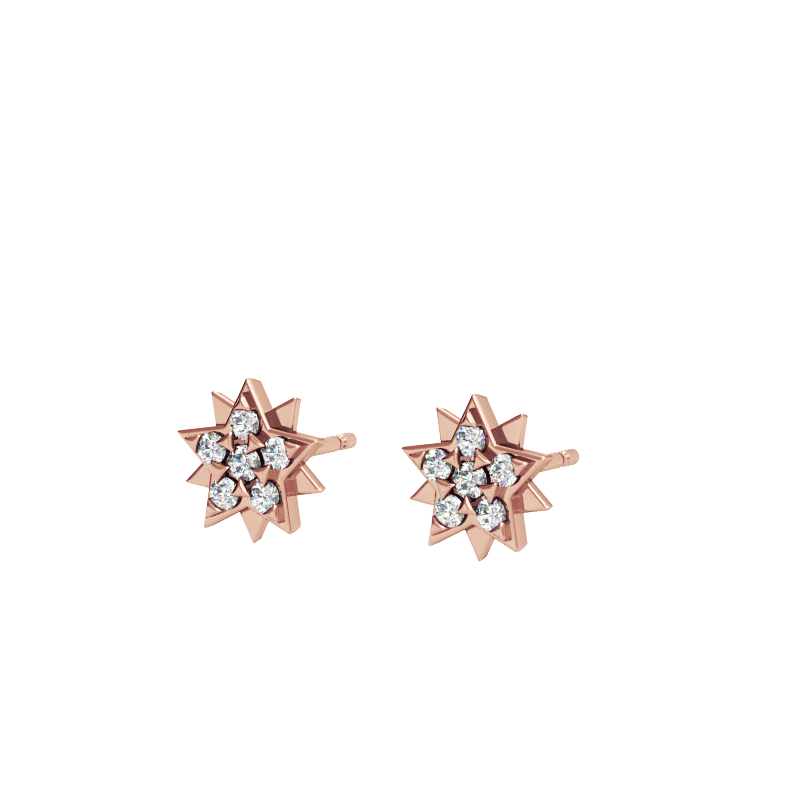 Rose Gold Star Stud Earrings with Diamonds