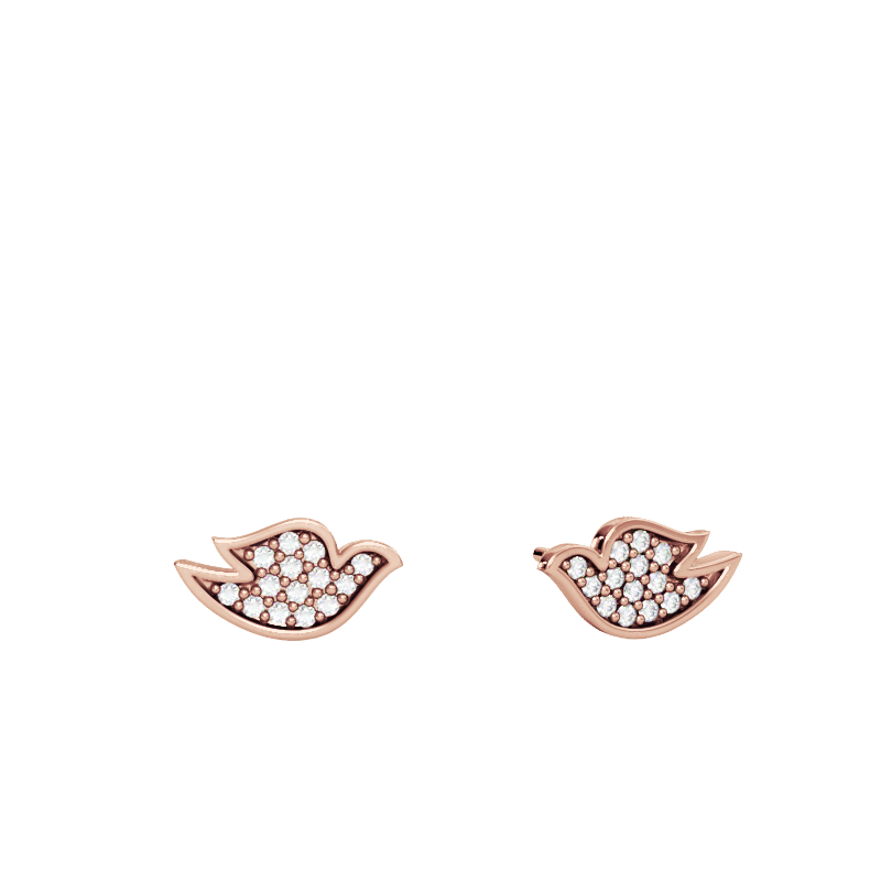 Rose Gold Dove Studs