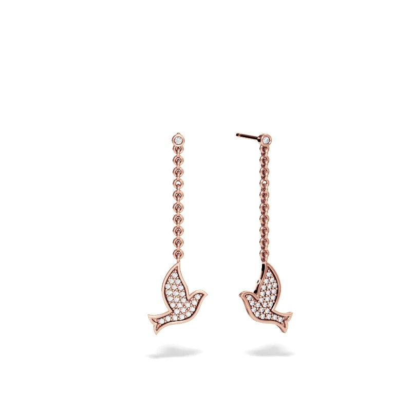 Rose Gold Dove Drop Earring