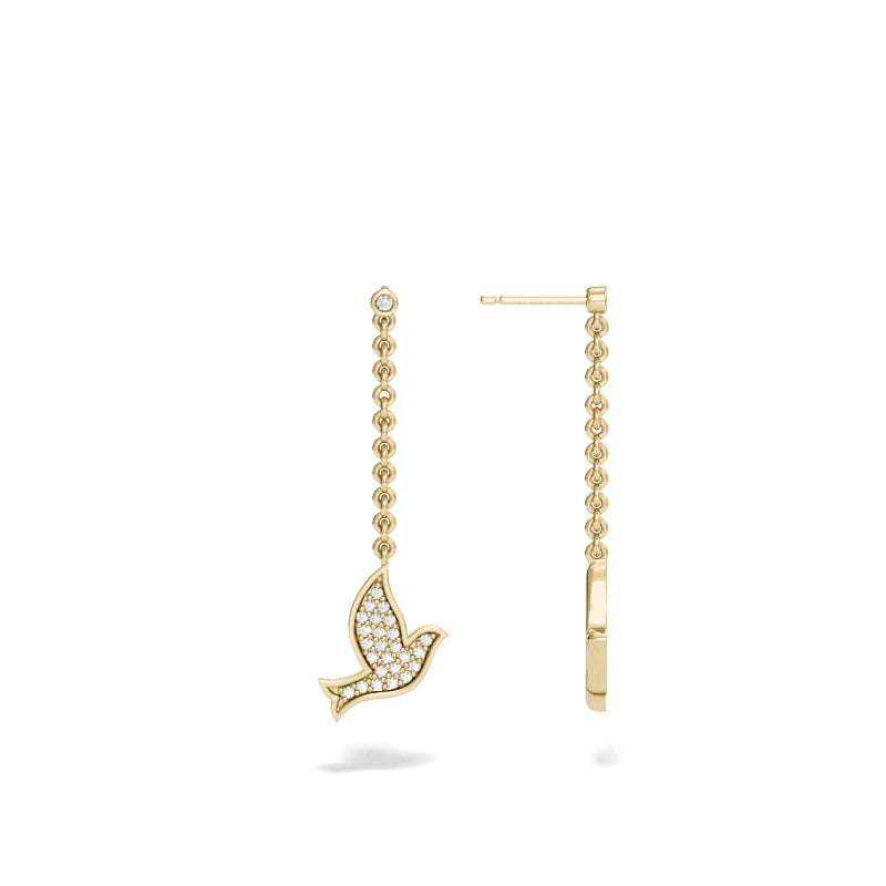 Yellow Gold Dove Drop Earring