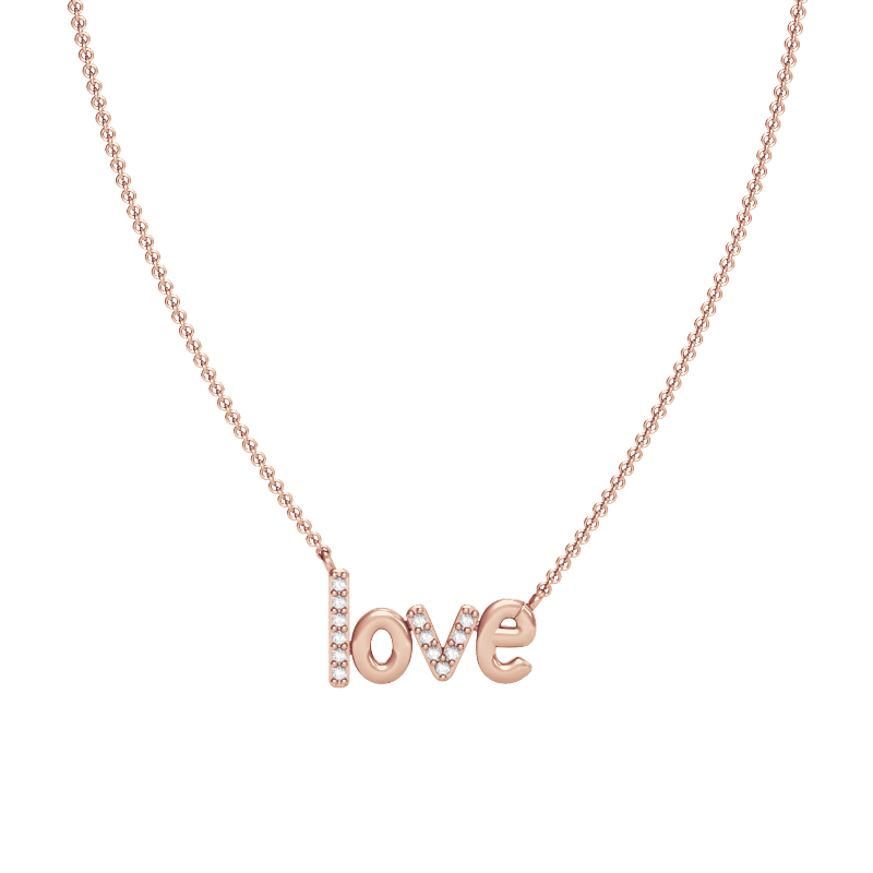 Rose Gold Love Necklace with Diamonds