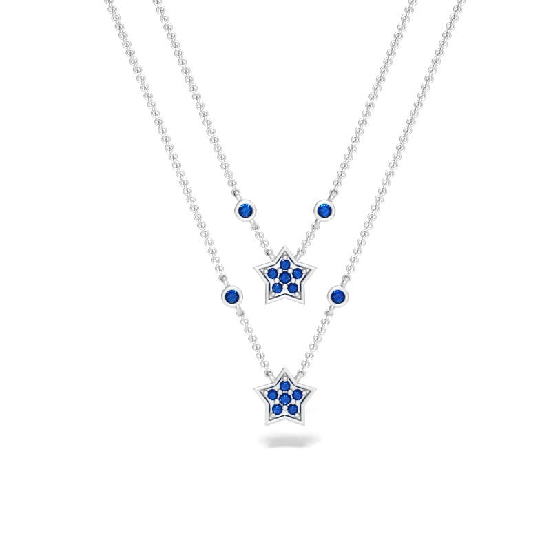 Constellation Necklace with Blue Sapphires