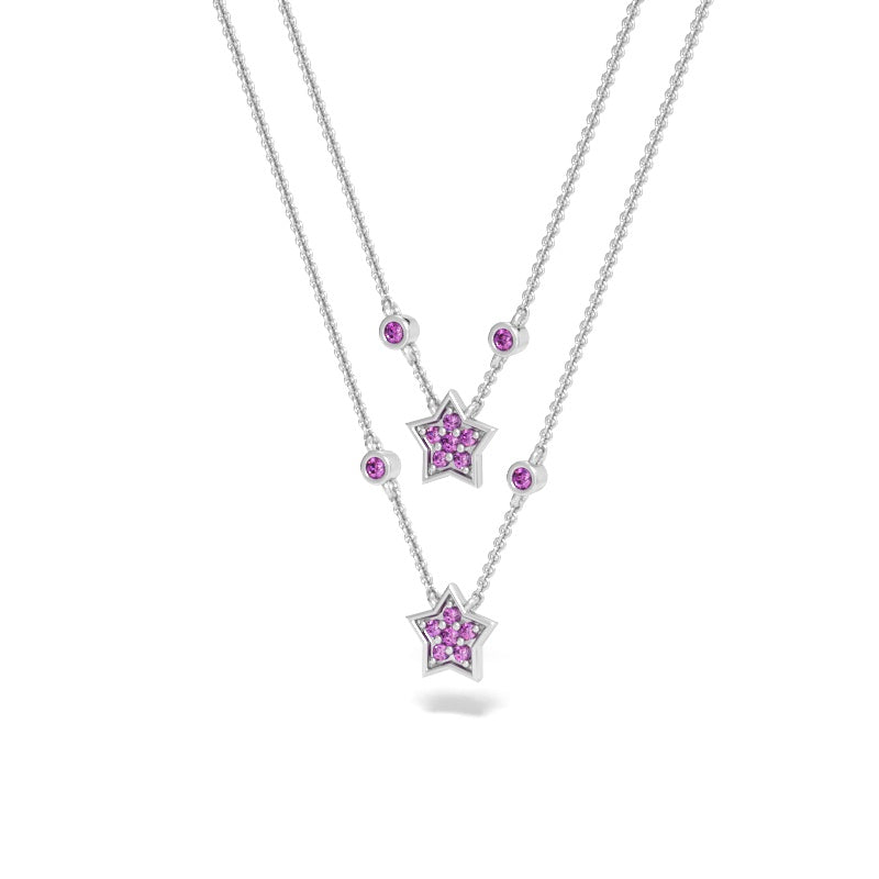 Constellation Necklace with Pink Sapphires