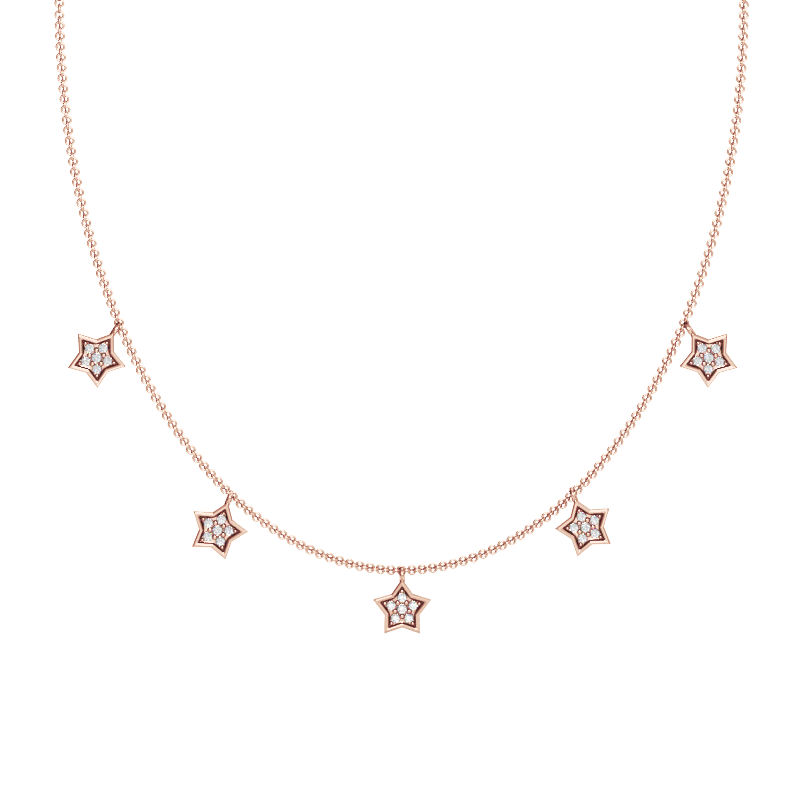 Rose Gold Star Station Necklace with Diamonds