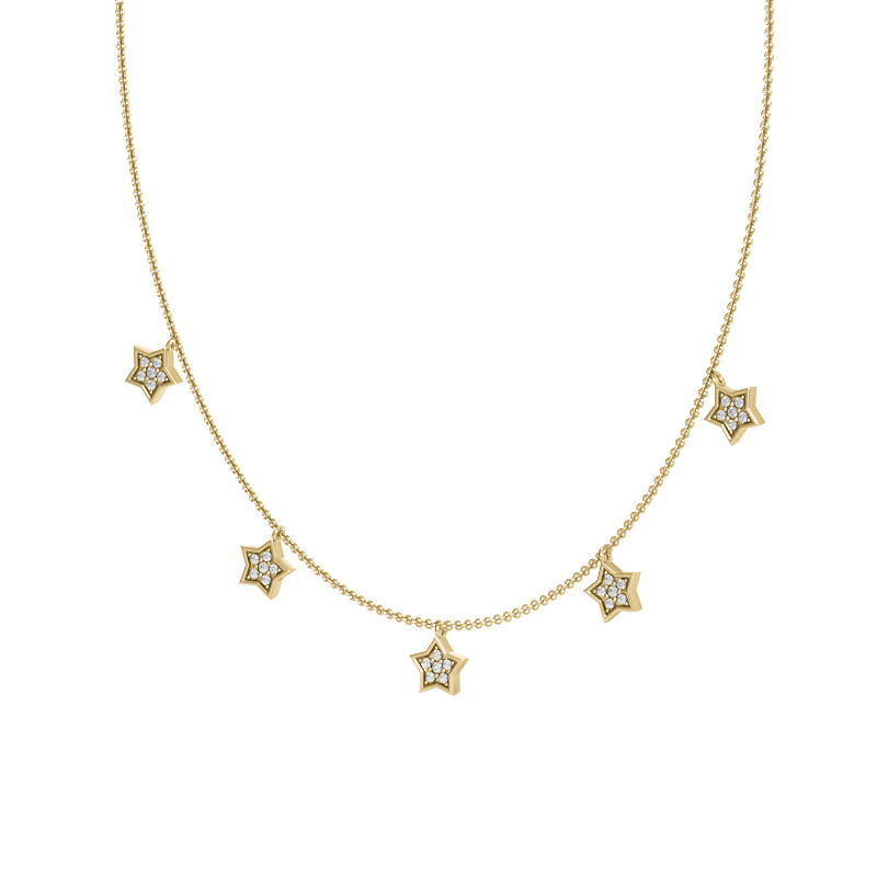 Yellow Gold Star Station Necklace with Diamonds