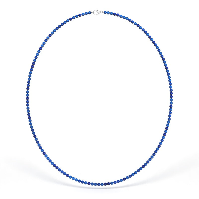3mm Blue Sapphire Bead Necklace