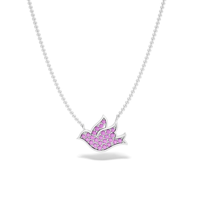 Pave Dove Necklace with Pink Sapphires
