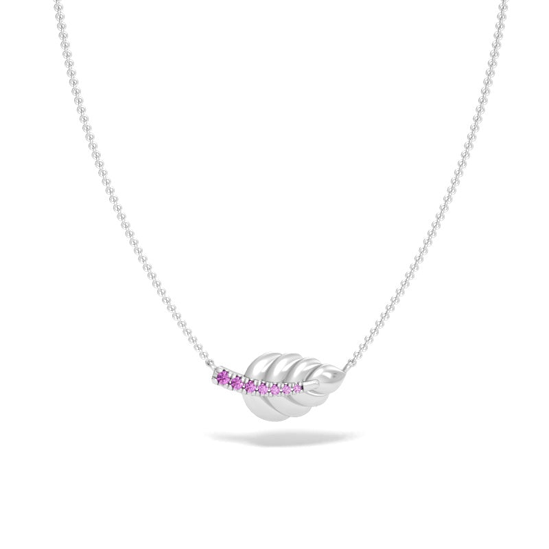 Laurel Leaf Necklace with Pink Sapphires