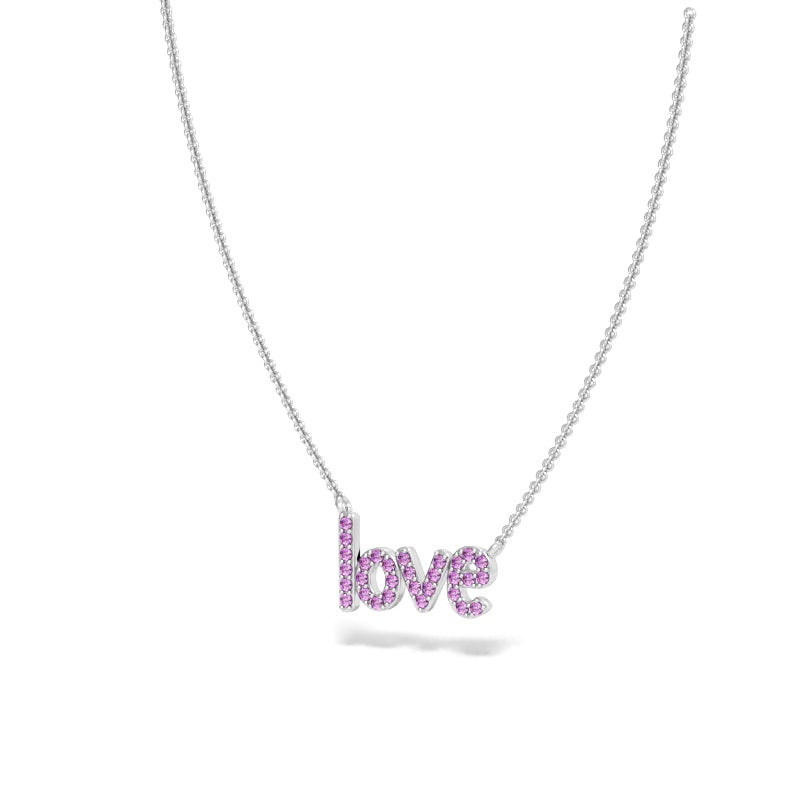 Love Necklace with Pink Sapphires