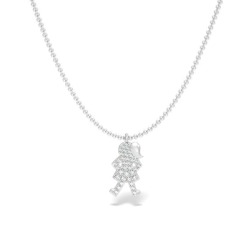 Fearless Girl Pendant with Diamonds