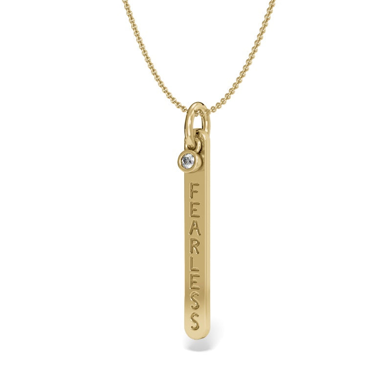 Yellow Gold Fearless Bar Pendant with Diamond