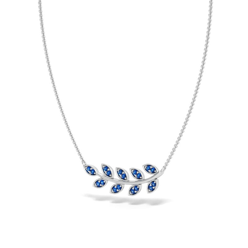 East-West Olive Branch Necklace with Blue Sapphires