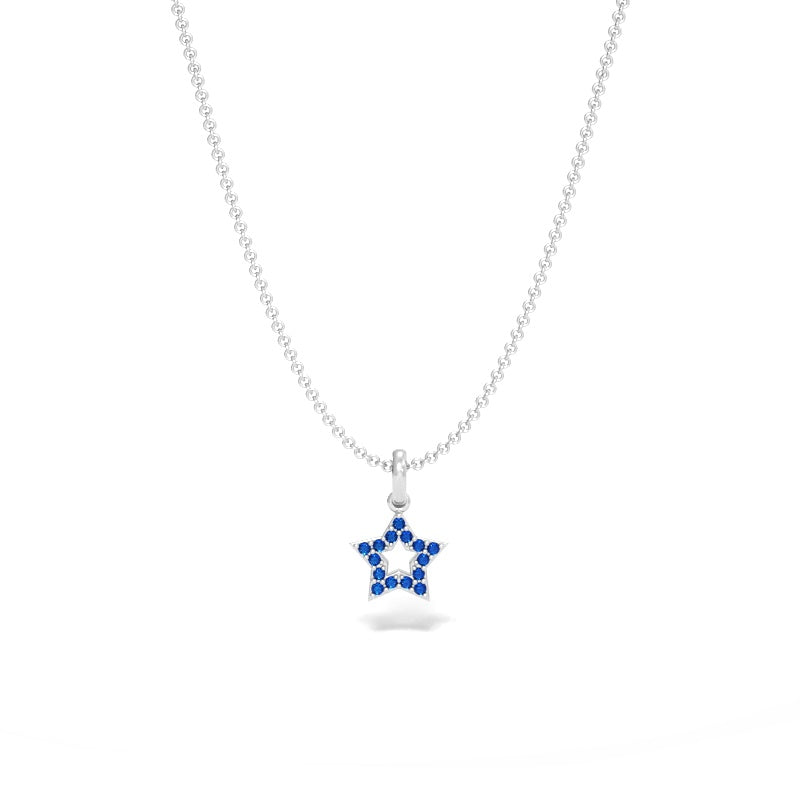 Star Pendant with Blue Sapphires