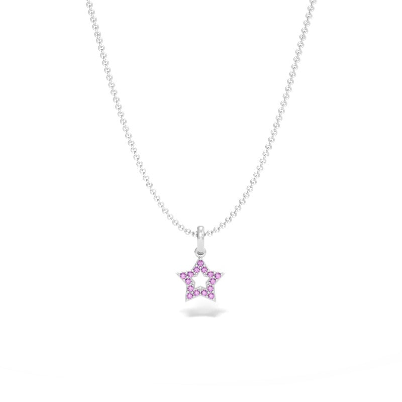Star Pendant with Pink Sapphires