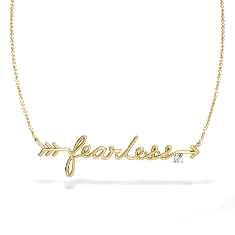 Yellow Gold Fearless Necklace with Diamond Accent