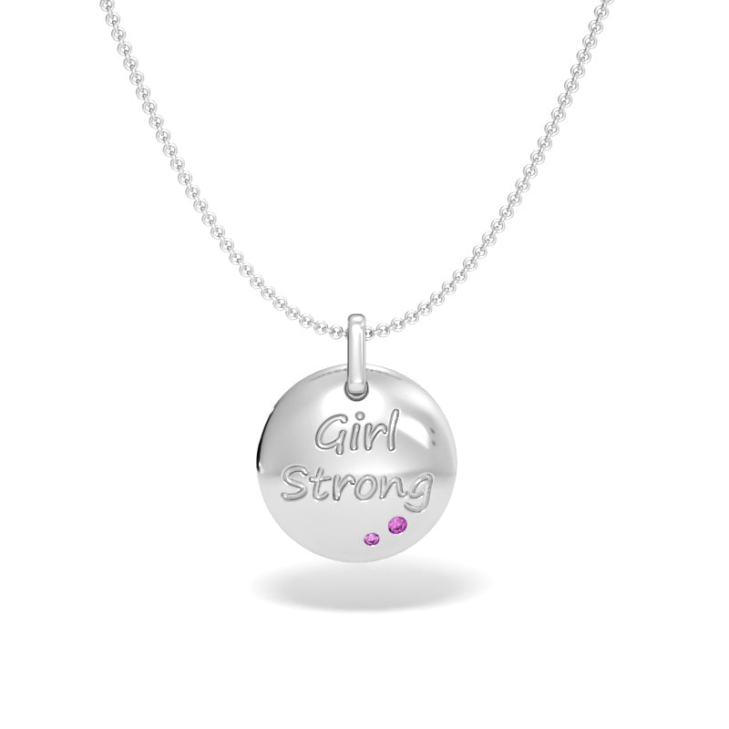 Girl Strong Talisman Pendant with Pink Sapphires