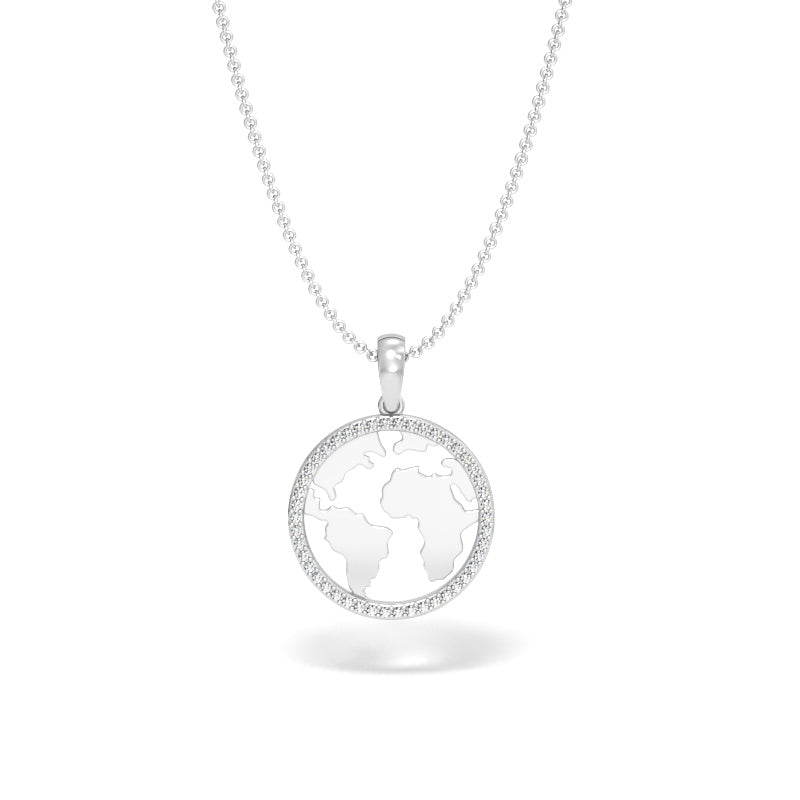 A Girl's World Halo Pendant with Diamonds