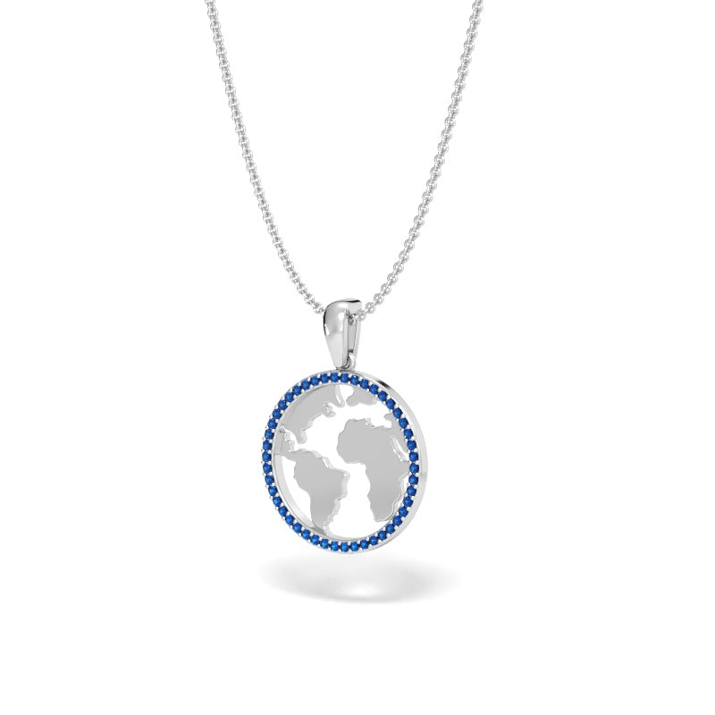 A Girl's World Halo Pendant with Blue Sapphires
