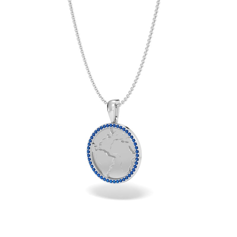 A Girl's World Talisman Pendant with Blue Sapphire Halo