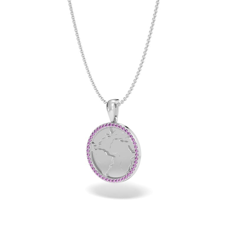 A Girl's World Talisman Pendant with Pink Sapphire Halo