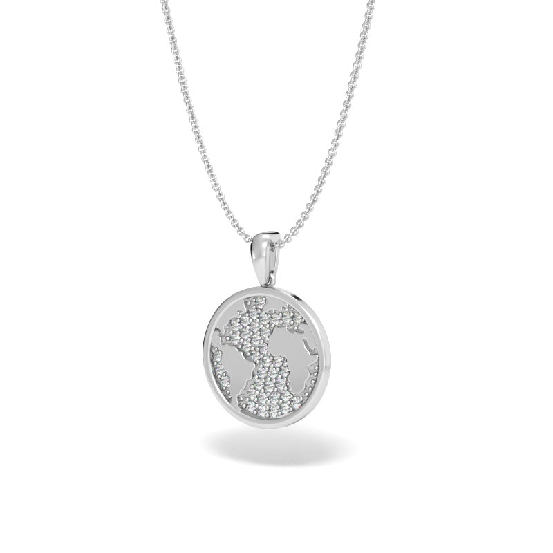 A Girl's World Talisman Pendant with Pave Diamonds