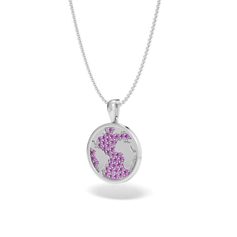 A Girl's World Talisman Pendant with Pave Pink Sapphires
