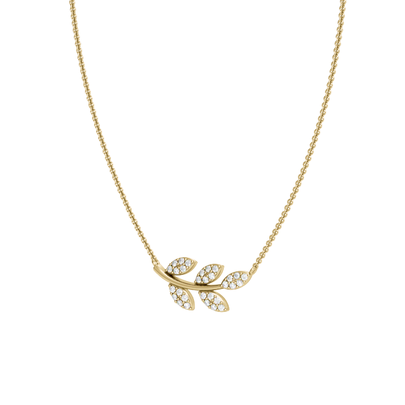 Yellow Gold East-West Olive Branch Necklace with Diamonds