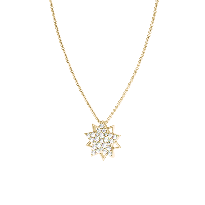 Yellow Gold Multi-Point Star Necklace