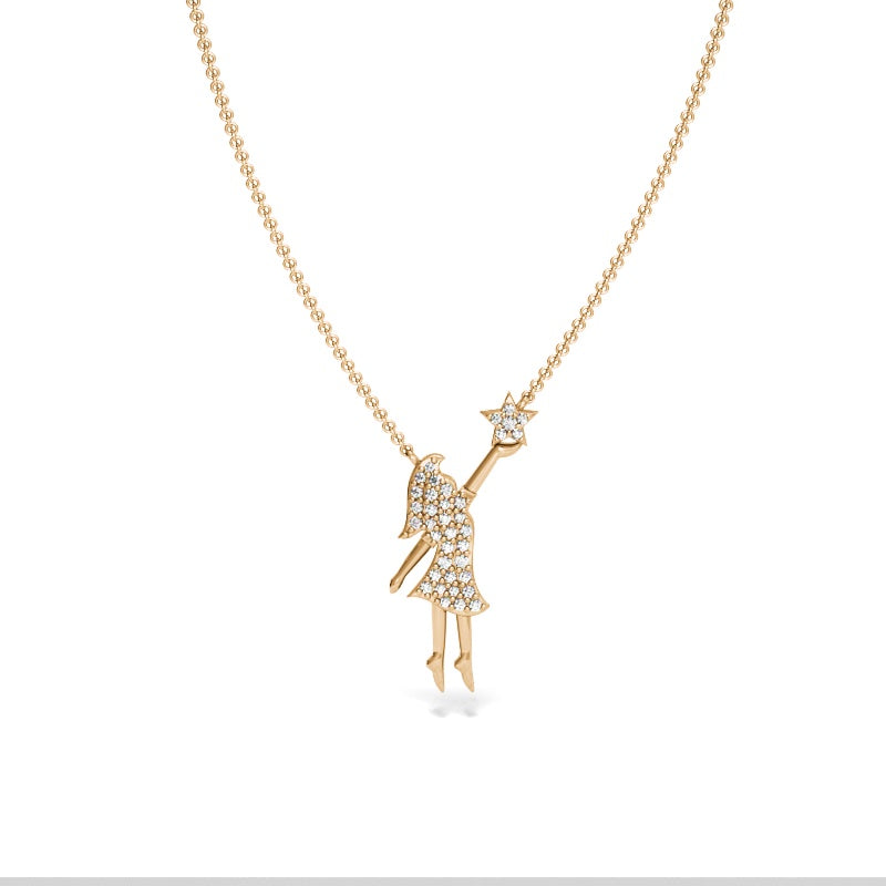 Yellow Gold Fearless Girl Reaching for the Stars Necklace